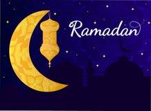 Plantilla del saludo de Ramadan Kareem stock de ilustración