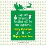 Plantilla del saludo del deseo de la Feliz Navidad ilustración del vector