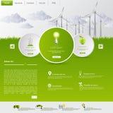 Plantilla del sitio web de Eco de la energía eólica Fotografía de archivo libre de regalías