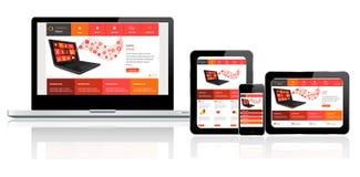 Plantilla del sitio web en los dispositivos múltiples stock de ilustración
