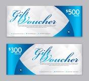 Plantilla del vale de regalo, bandera de la venta, disposición horizontal, tarjetas del descuento, jefes, página web, fondo azul, libre illustration