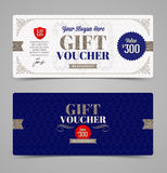 Plantilla del vale de regalo con plata del brillo Imagen de archivo libre de regalías