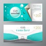 Plantilla del vale de regalo tarjeta de la promoción, diseño de la cupón ilustración del vector