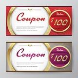 Plantilla del vale de regalo tarjeta de la promoción, diseño de la cupón Acción del vector stock de ilustración
