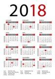 Plantilla del vector del calendario 2018 Imagen de archivo libre de regalías