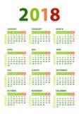 Plantilla del vector del calendario 2018 Fotos de archivo libres de regalías