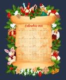 Plantilla del vector del calendario de las vacaciones de invierno 2018 Imagen de archivo