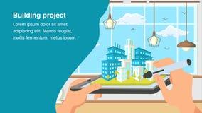 Plantilla del vector de la bandera de la página web del proyecto de edificio stock de ilustración