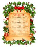 Plantilla del vector de la decoración del calendario de la Navidad 2018 Imagen de archivo libre de regalías