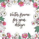 Plantilla del vector de la flor Con el espacio para el texto stock de ilustración