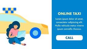 Plantilla del vector de la página del aterrizaje del servicio del taxi de Internet libre illustration