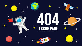 Plantilla del vector de la página del error del espacio 404 para el sitio web Imagenes de archivo