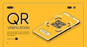 Plantilla del vector de la página web del app de la verificación del código de QR stock de ilustración