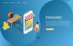 Plantilla del vector de la página web de la página del aterrizaje del phishing del pirata informático libre illustration