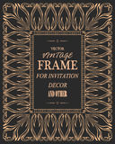 Plantilla del vector de la tarjeta de felicitación del ornamento del vintage Invitaciones retras de la boda Imagenes de archivo