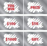 Plantilla del vector de la tarjeta de rascar de la lotería Imagen de archivo