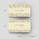 Plantilla del vector de la tarjeta de visita con el fondo del ornamento floral Fotografía de archivo libre de regalías