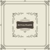 Plantilla del vector de la tarjeta de felicitación del ornamento del vintage Invitación de lujo retra, certificado real Marco de  stock de ilustración
