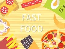 Plantilla del vector de los alimentos de preparación rápida Foto de archivo libre de regalías