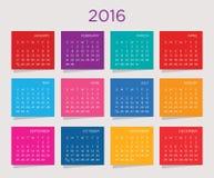 Plantilla 2016 del vector del calendario Foto de archivo libre de regalías