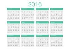 Plantilla 2016 del vector del calendario Fotografía de archivo