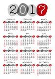 Plantilla del vector del calendario 2017 Foto de archivo libre de regalías