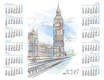 Plantilla del vector del calendario 2016 con Big Ben Foto de archivo libre de regalías