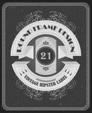 Plantilla del vector del vintage con diseño redondo de la etiqueta y los marcos elegantes Foto de archivo