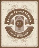 Plantilla del vector del vintage con diseño redondo de la etiqueta y los marcos elegantes Imagen de archivo