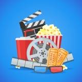 Plantilla del vector del diseño del cartel de película del cine en fondo azul Imagen de archivo libre de regalías
