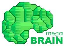 Plantilla del vector del diseño de la vista lateral de la silueta de Brain Logo El intercambio de ideas piensa el icono del conce stock de ilustración