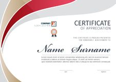 Plantilla del vector para el certificado o el diploma imagen de archivo