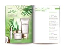 Plantilla del vector para la revista cosmética brillante stock de ilustración