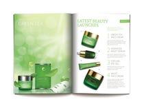 Plantilla del vector para la revista cosmética brillante ilustración del vector
