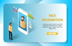 Plantilla del vector del sitio web de la página del aterrizaje del reconocimiento de cara ilustración del vector