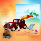 Plantilla del viaje con el automóvil clásico Imágenes de archivo libres de regalías