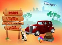 Plantilla del viaje con el coche clásico delante de la visión exótica Fotos de archivo libres de regalías