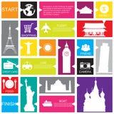 Plantilla del viaje para el interfaz o infographic Imágenes de archivo libres de regalías