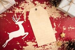 Plantilla del vintage de la opinión superior de la etiqueta del vintage de la Navidad Imagen de archivo libre de regalías