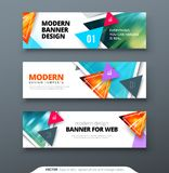 Plantilla del web de la bandera del diseño geométrico del extracto del vector del diseño de la bandera libre illustration