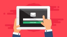 Plantilla del web de la forma del correo electrónico de la tableta Imágenes de archivo libres de regalías