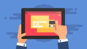 Plantilla del web de la forma en línea de las compras de la tableta Imagen de archivo libre de regalías