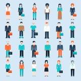 Plantilla del web de las situaciones del hombre de negocios de los iconos de la gente Foto de archivo libre de regalías