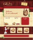 Plantilla del web para el restaurante o el café retro Fotos de archivo libres de regalías
