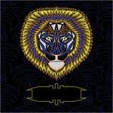 Plantilla delantera colorida geométrica del león ilustración del vector