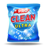 Plantilla detergente del diseño en el paquete del bolso de la hoja libre illustration