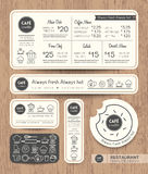 Plantilla determinada del diseño gráfico del menú del café del restaurante Fotografía de archivo libre de regalías