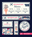 Plantilla determinada del diseño gráfico del menú del restaurante del appetit del Bon Imagenes de archivo