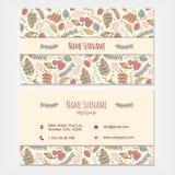 Plantilla determinada del negocio de la tarjeta de visita con f dibujada mano decorativa stock de ilustración