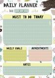 Plantilla diaria colorida del planificador Organizador de la historieta en el formato A4 ilustración del vector